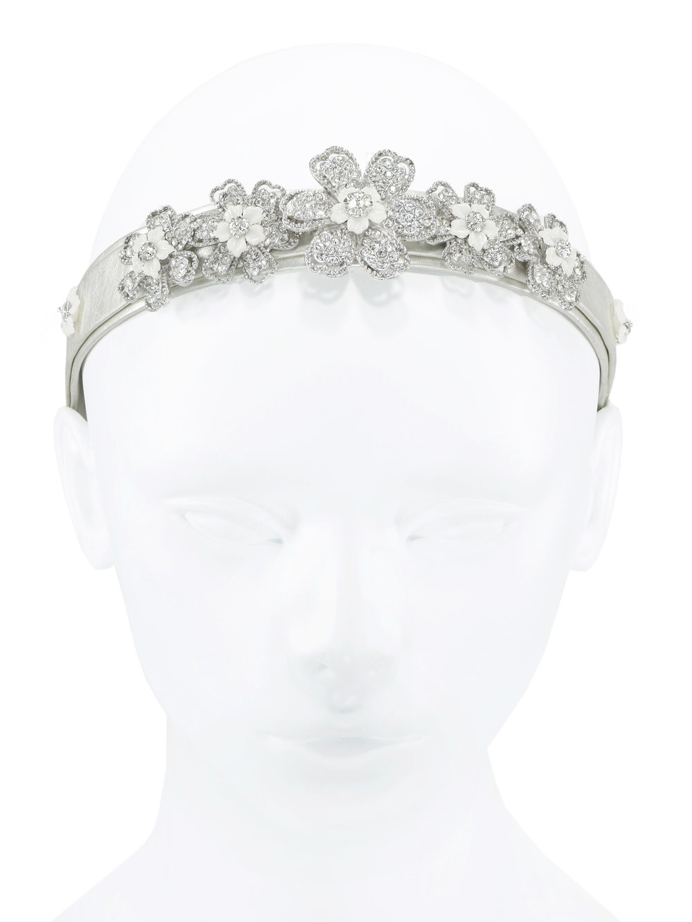 Beautiful soft Italian leather headband with   rhinestone flowers   Shop