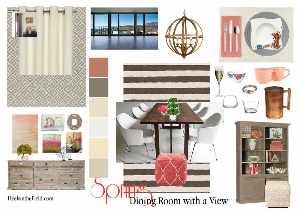 'Fresh new look' dining room inspiration board.