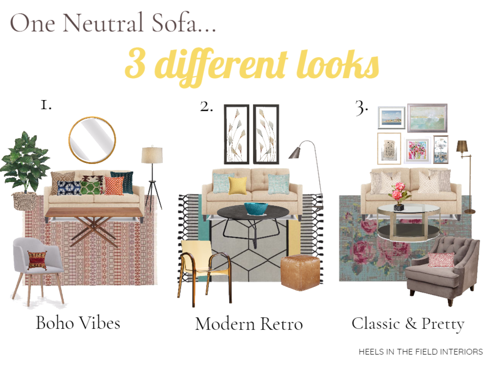 A neutral coloured sofa can work perfectly with all sorts of styles.