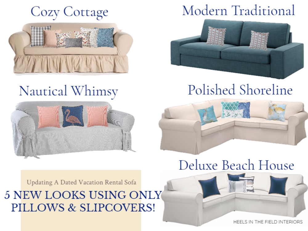 Vacation Rental Decorating (Slipcovers & Pillows To Update A Sofa) from  heelsinthefield.com . Find these items at:  Ikea ,  Pottery Barn ,  Bed Bath & Beyond ,  Zazzle .