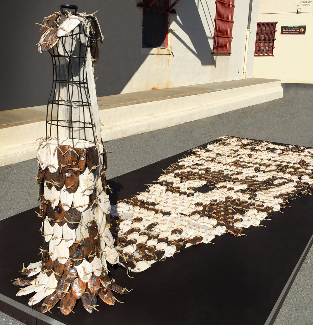 Ties That Bind,   2016,   1000 handmade tiles, silver solder, copper, fiber, wireframe figure, 20 x 8 x 7 feet