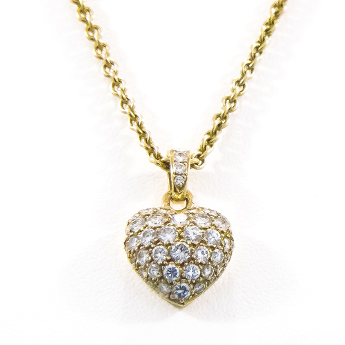 18k cartier diamond heart necklace clayton antiques 18k cartier diamond heart necklace mozeypictures Image collections