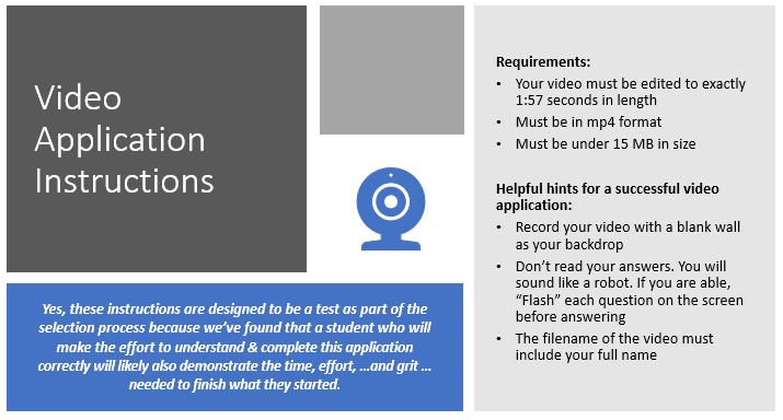 click here to download the video application instructions.