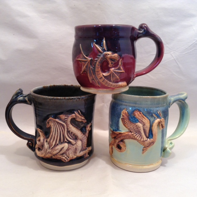 Finished dragon mugs.