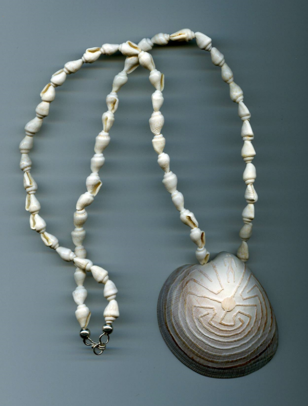 Shell Necklace featuring traditional etchings like I will be demonstrating.