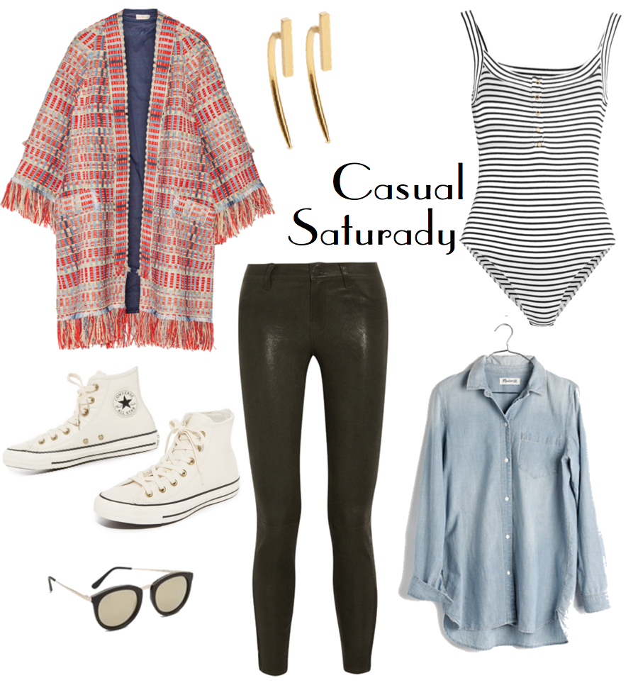 A bright patterned overcoat keeps this look particularly feminine and edgy while the more basic pieces (like a chambray button-down, minimal accessories, and cult-classic high-top leather sneakers with a winterized spin) serve as an anchor, keeping it casual, comfortable, and cool.