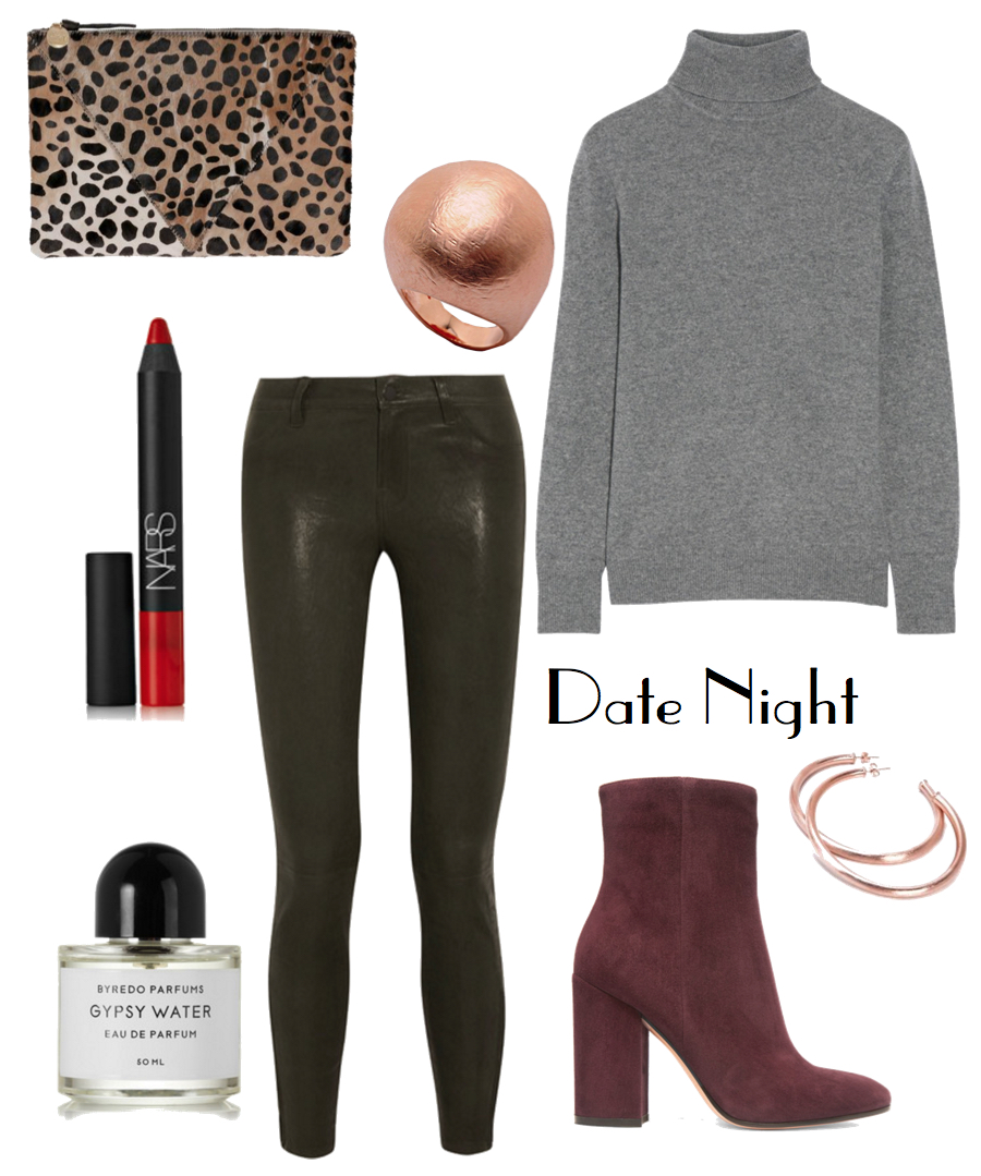 A combination of desirable textures elevates the subdued color palette of this ensemble, taking it from understated to undeniably sexy, perfect for a night out with Bae.