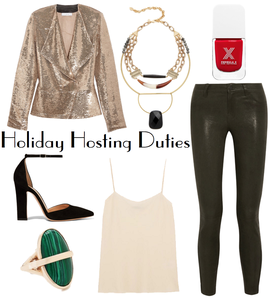 Just like their less-edgy trouser cousin, leather leggings are a perfect blank canvas, serving as an anchor for a festive sequin blazer and colorful statement accessories. A little business-on-the-bottom, party-up-top for your jam-packed holiday social calendar.