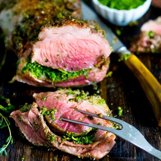Herb Crusted + Stuffed Leg of Lamb