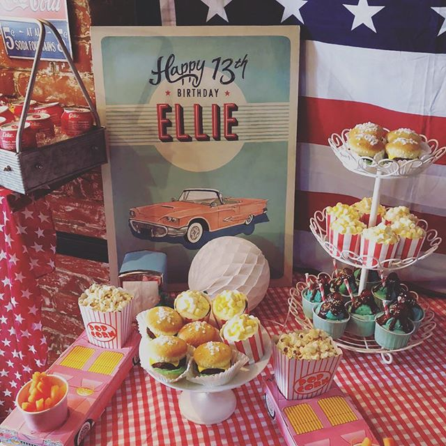 These cupcakes went down a storm at today's American diner party. Look delicious, taste delicious. What more can a little lady ask for? Venue @sobarrichmond  Cupcakes @becksbake  Styling and planning @mrs_myrtle  #mrsmyrtleparties #americandinerparty #partyideas #partyplanner