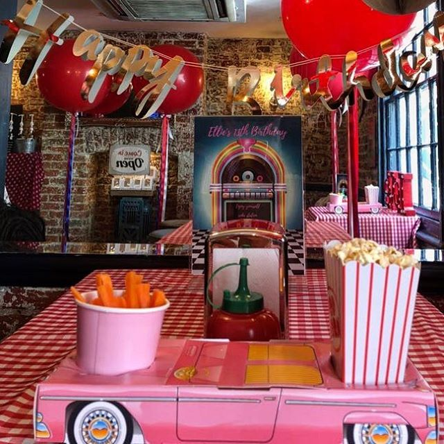 Loved created this American diner party today for a special lady. Thank you to @sobarrichmond for hosting.  Cakes by @becksbake  Balloons by @balloonistaco  Styling and planning by@mrs_myrtle.  Sweets by @sweetdreamsofsurrey  #partyideas #mrsmyrtleparties #mrsmyrtle #americandinerparty #partyplanner #birthdayba #themedpartyplanner #americandiner #popcornlover #livingthedream