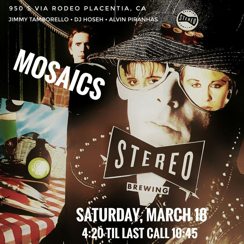 MOSAICS is come to OC! Listen to vinyl spinning all night in the tap room.