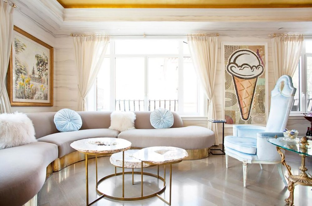 Sasha Bikoff utilizes a wide variety of materials and textures to make the pastel hues pop and add character to this dreamy space.