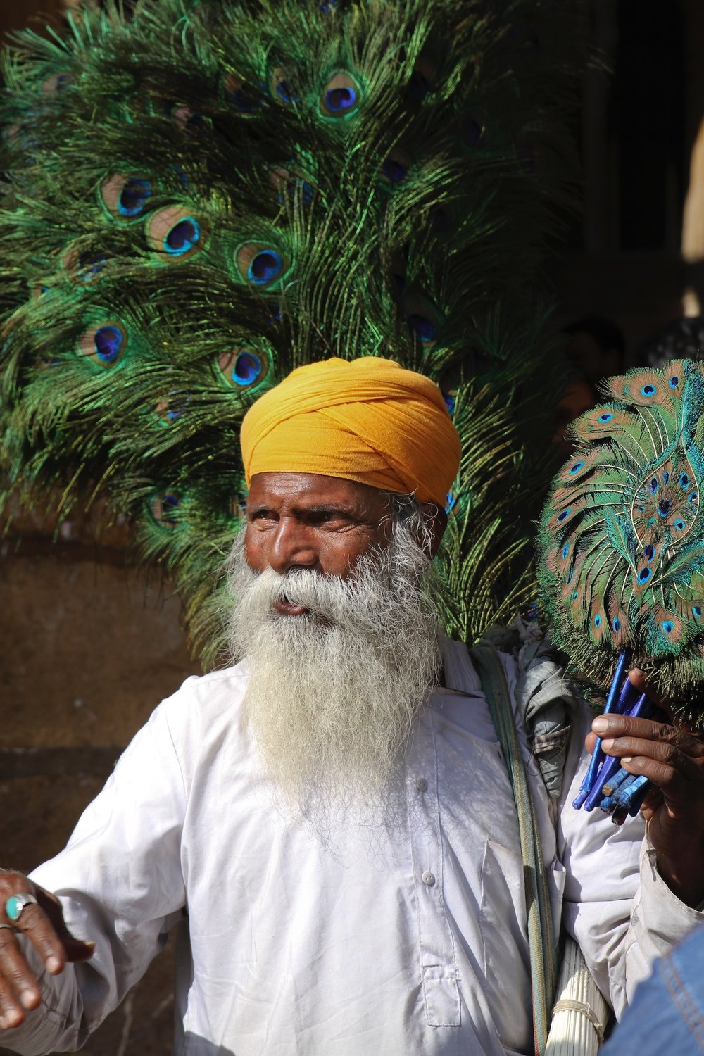 Man with Peacock Feathers