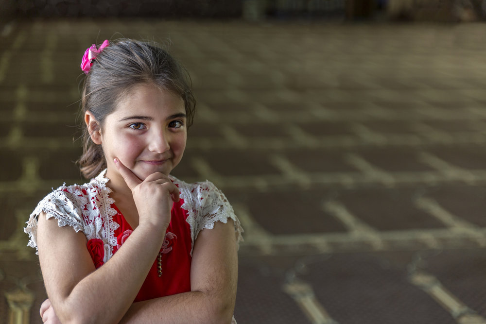 Syrian Girl in Red Dress
