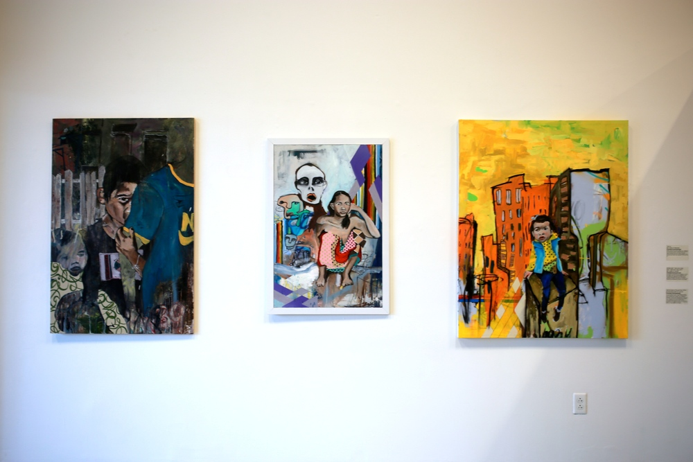 "Left to Right: ""Tied up"", ""Mother with 7 kids and a dog, feed 7 kids and a dog, 2014"", and ""Call me back at the god hour, 2014"", mixed media paintings by Chantala Kommanivanh"