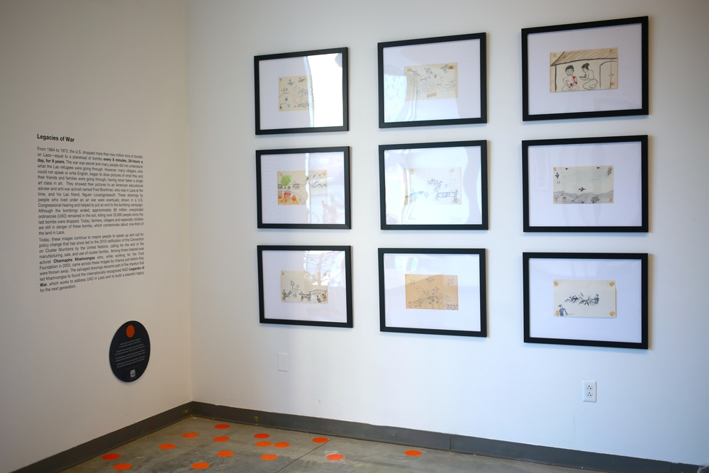 Drawings of the Secret War bombings by Lao villagers, on loan courtesy of Legacies of War