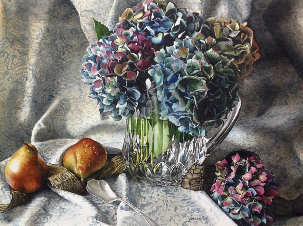 Hydrangeas in Glass with Pears.jpg