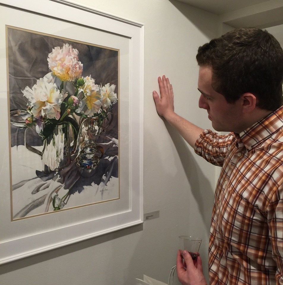 Matt M. taking in Cream Peonies & Silver