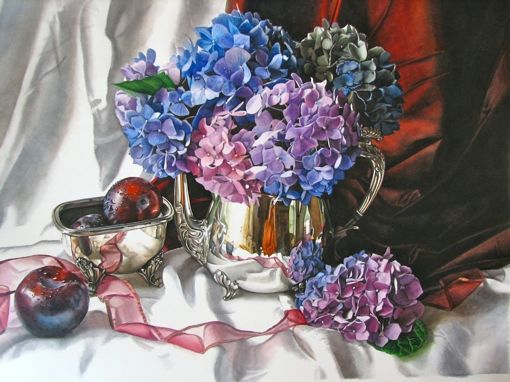 Purple Hydrangeas and Plums - on display at the Barn Gallery in Ogunquit, ME