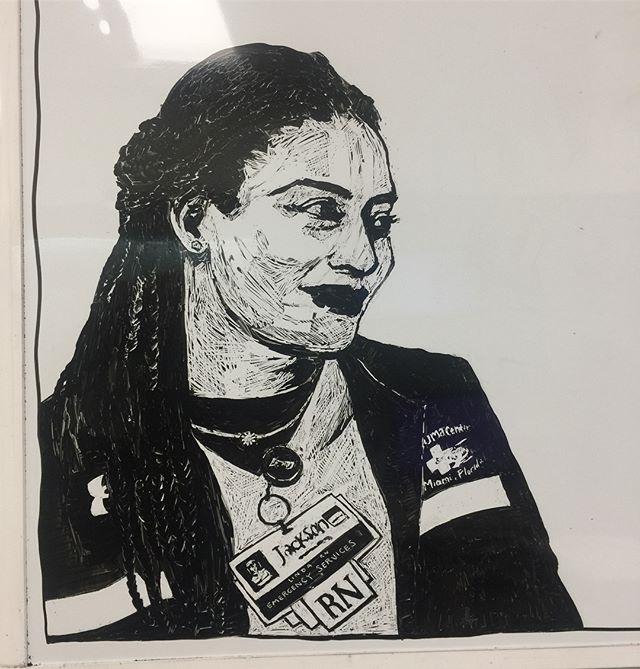 🌺 Linda  #whiteboard  #sketch  #miami  #nurse