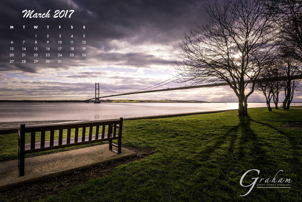 March 2017 - The spectacular Humber Bridge, viewed from the north bank and captured at sunset.Click the image to open and download
