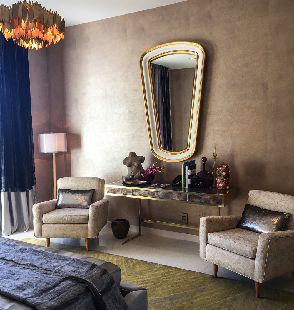 Darius Mirror  in a room designed by  Justin Shaulis Inc  at the  Christopher Kennedy Compound