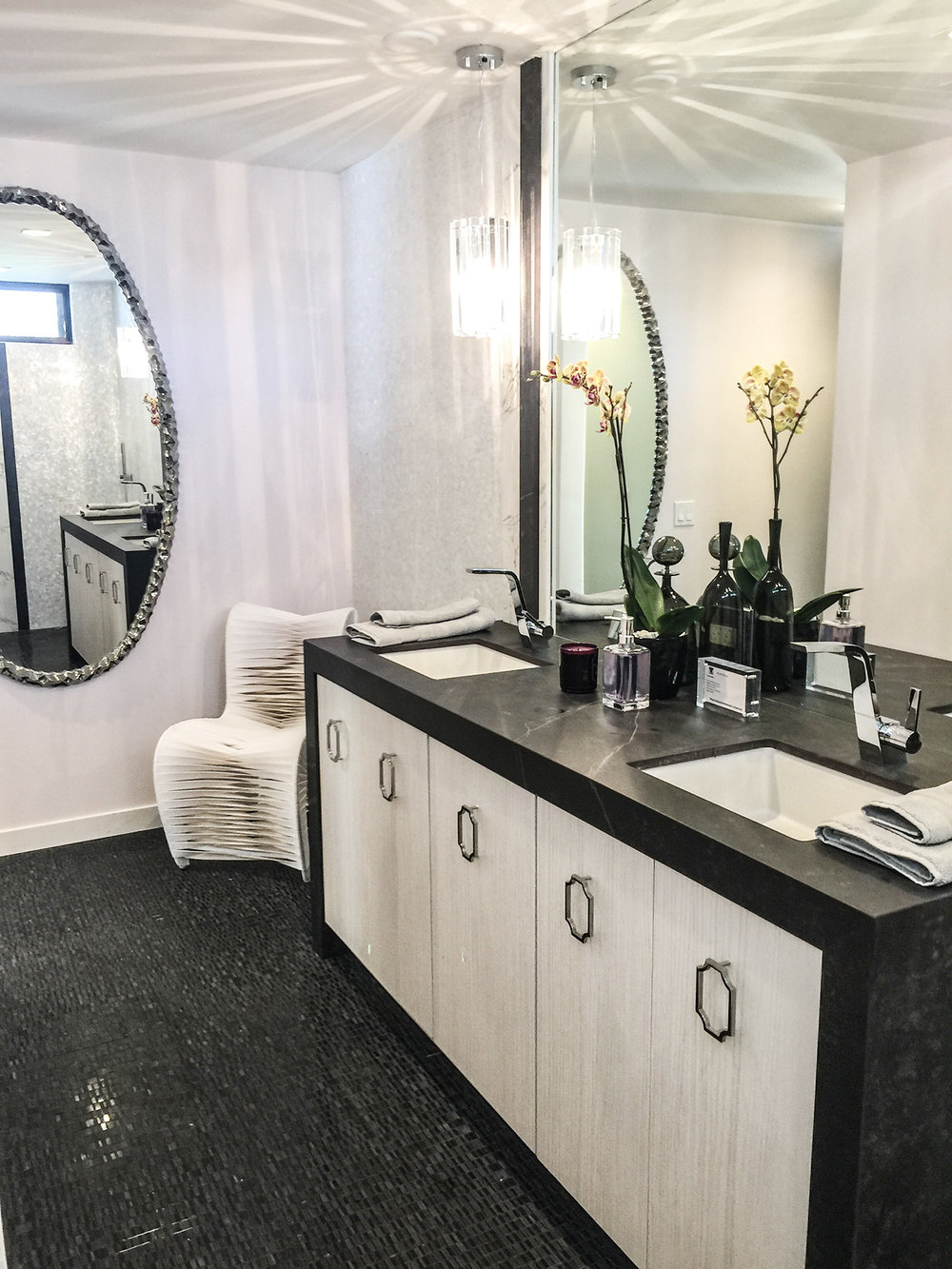 M  emphis Mirror  in a room designed by  Justin Shaulis Inc  at the  Christopher Kennedy Compound