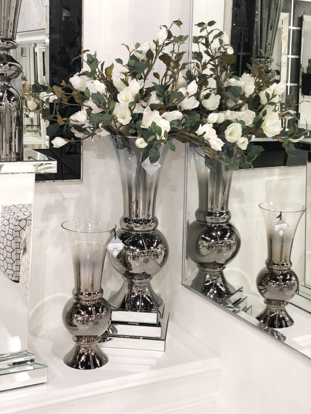Metallic Chrome Glass Vases