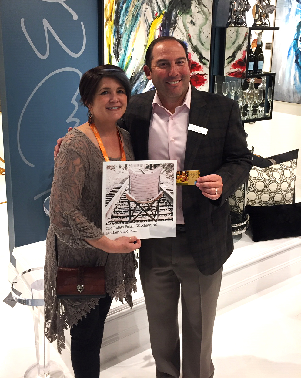 Deann accepting her award from President, Brian Berk in our High Point Showroom