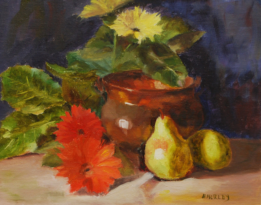 Tarnished Copper, Pears and Daisies.jpg