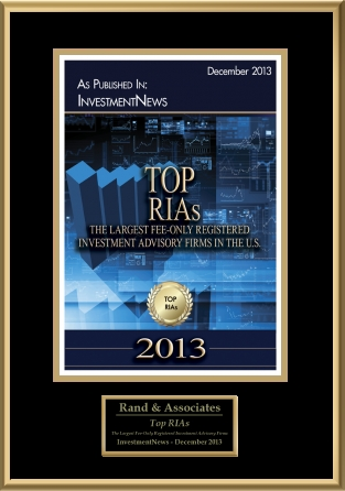 """Firms with over $100 million in assets under management as of 1/1/2013 are included in InvestmentNews's """"Top RIAs"""" list provided employees are not registered with a broker-dealer, the firm derives no more than 50% of regulatory assets under management from pooled investment vehicles, derives no more than 25% of regulatory assets under management from pension and profit sharing plans, derives no more than 25% of regulatory assets under management from corporations or other businesses, does not receive commissions, provides financial planning services, and is not engaged in business as a broker-dealer.(Source: InvestmentNews)"""