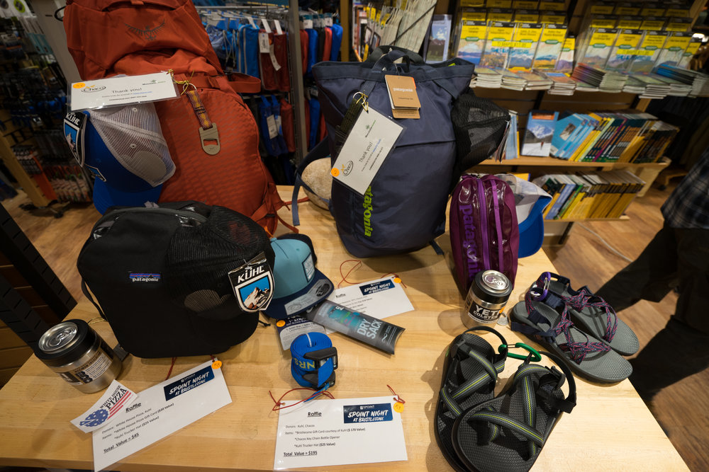 Raffle Prizes generously donated by Patagonia, Osprey, Chaco, Kuhl, Outdoor Research, and YETI!