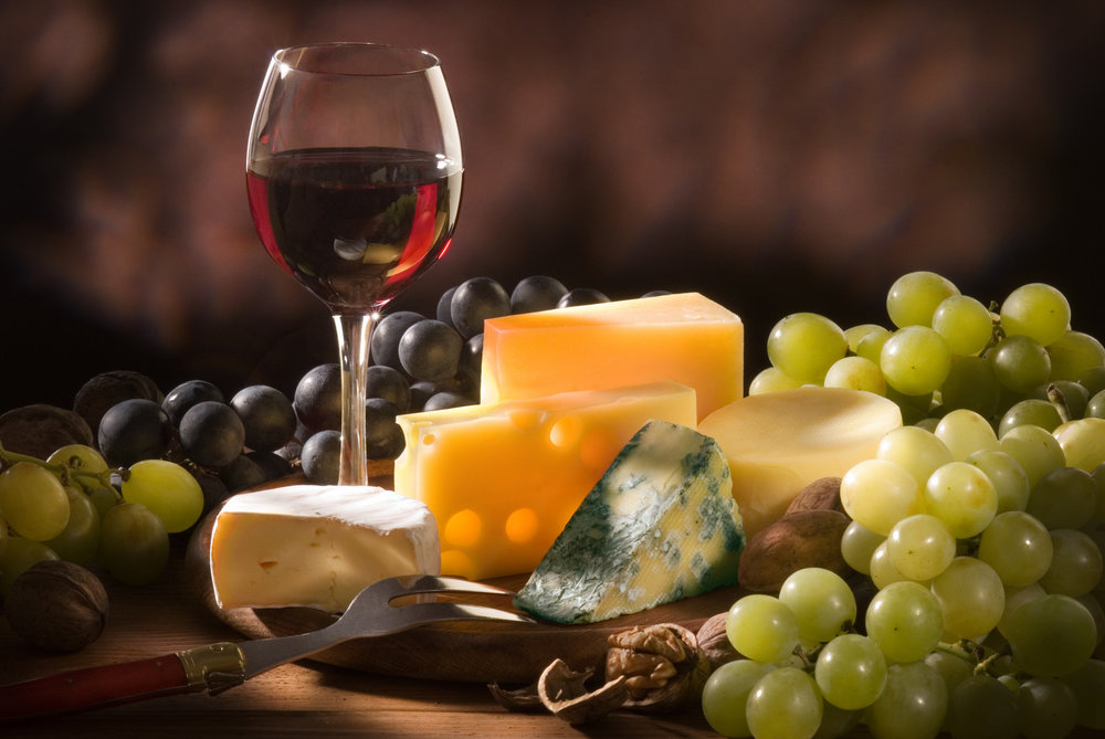 Wine Lovers special: assorted cheese and crackers, fresh fruit platter crudite, Cabernet red, Chardonnay white. $24 per person.