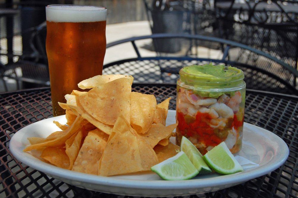By-the -Sea special : fresh fish cerviche, shrimp cocktail, chips, salsa, guacamole, ice cold Coronas and Pacificos. $25 per person.