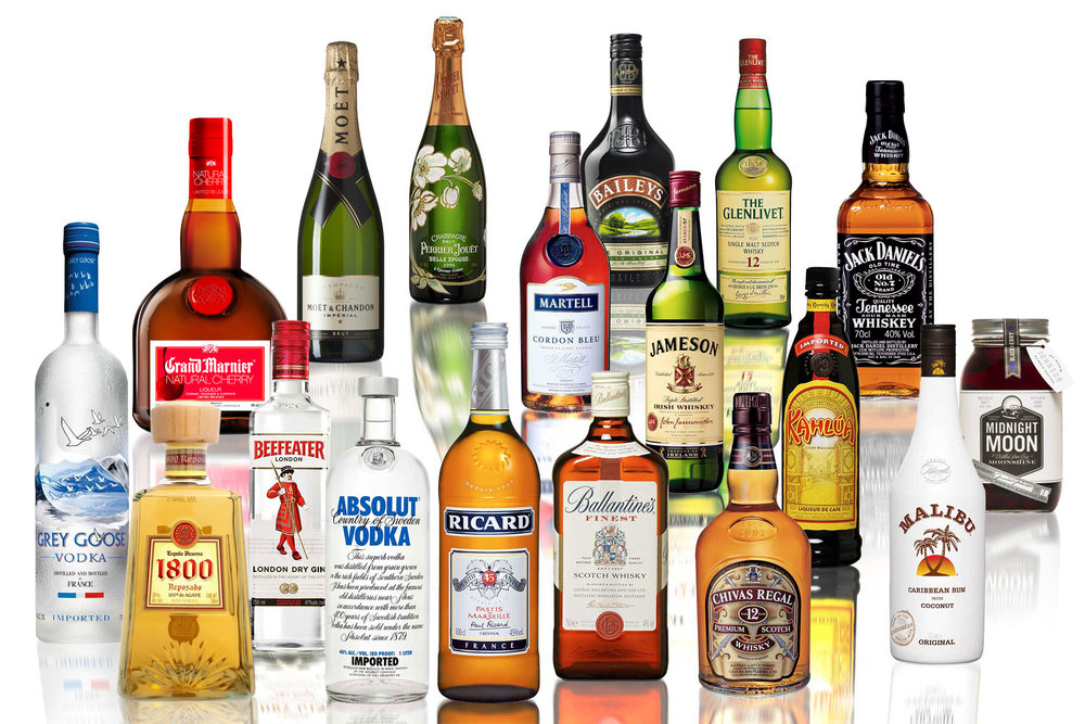 Spirits Package 2: $350. assorted sodas, Corona beer, Modelo beer, bottled water, Grey Goose vodka, Pina Colada mix, Kahula, Cranberry juice, Jack Daniels Black, Rum, Tequila Don Julio, mineral water, Margarita mix, White wine, Red wine, assorted nuts, chips, & pretzels.