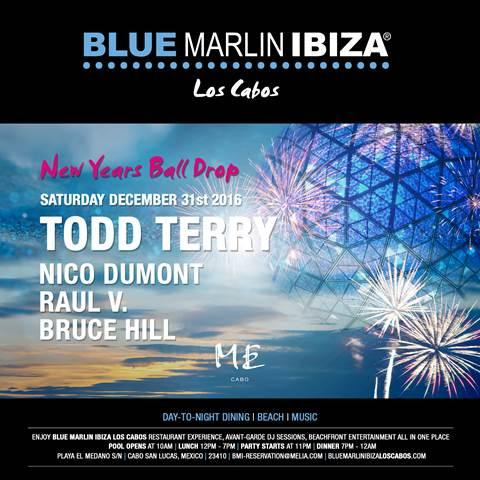 New Years Ball Drop at Blue Marlin Ibiza Los Cabos Leave the bustle of the city behind and ring in 2017 at Blue Marlin Ibiza Los Cabos with a day-to-night pool party and international restaurant experience. The marathon celebration (10 a.m. - 2 a.m.)  features avant-garde DJ sessions headlined by Todd Terry and amazing beachfront entertainment while overlooking the glittering Sea of Cortez and world-famous El Arco rock formation from the pool deck at ME Cabo. BMI Los Cabos is the latest addition to the ME by Meliá resort, which completed a $16 million renovation earlier this year to highlight local Mexican culture and design and elevate the guest experience. It is also premier international lifestyle brand Blue Marlin Ibiza's first cosmopolitan beach club in the Americas, joining a collection of destinations from Dubai to Cannes to the Ibiza original. Book your reservations HERE. For table reservations and bottle service, contact bmi-reservation@melia.com or (+52) 624 122 2001.