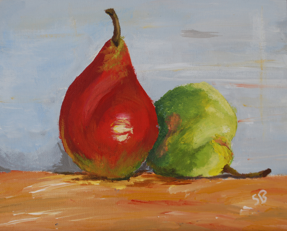 Pears, Acrylic on Canvas, 11in x 17in
