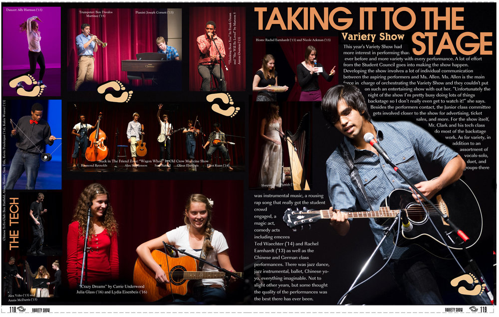 """Example """"Talent Show"""" Page for """"No Boundaries"""" Yearbook, 2013"""