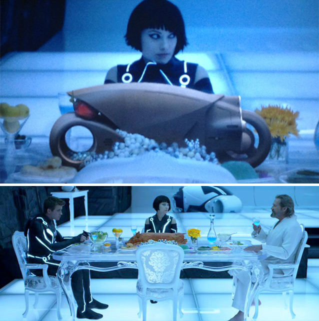 So the director of Tron: Legacy calls up Daniel Simon – the artist responsible for the vehicle design – and says he needs a Lightcycle rendered in the background for the dinner scene. And he needs it in less than a day. Simon sends the clip above to Kosinski. Most of the time was spent rendering each one of the translucent grapes to get the prank just right.