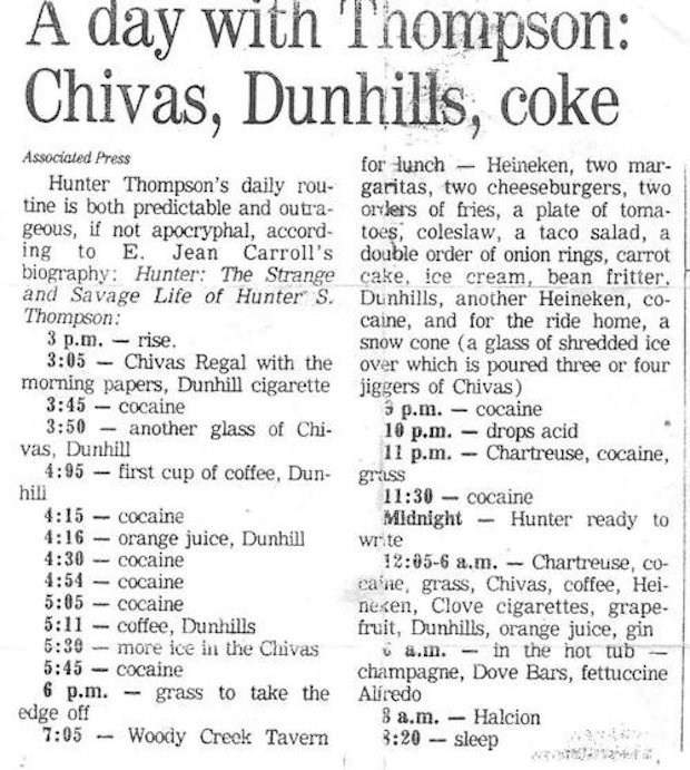 Hunter S. Thompson's morning routine.