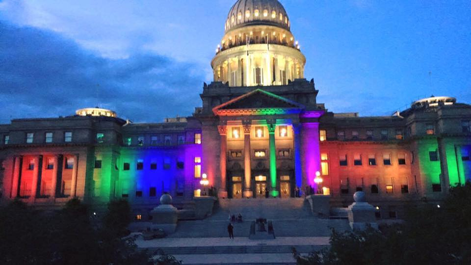 The state house refused to light up the Capital in remembrance for the victims of Orlando, or for Pride week. A local volunteer donated lights and time to make it happen anyway. Thank you <3