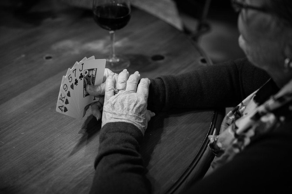 Maryland family documentary photography session: four generations of women and their love of cards