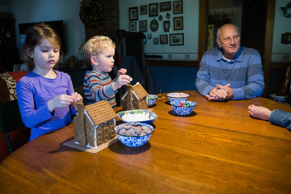 Photographing a gingerbread tradition with the grandparents.