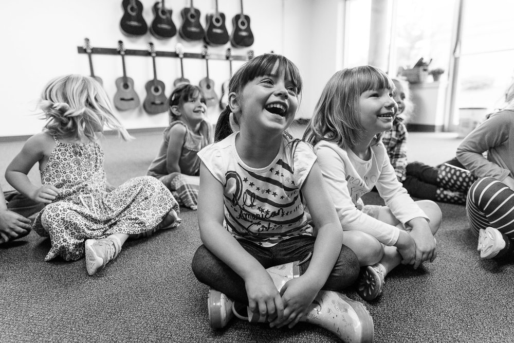 Preschoolers in music class at Radcliffe Creek School