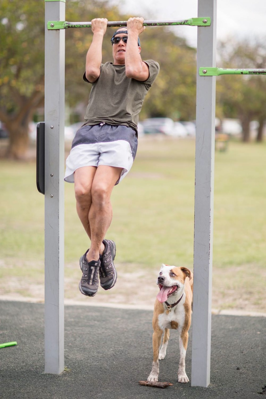Charlie training with his best friend. Image supplied.