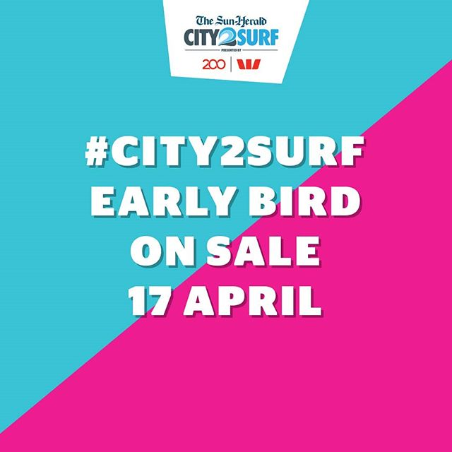 We're back, bigger and better than ever.  #City2Surf early bird on Sale Wednesday 17 April