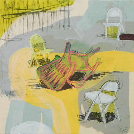 having a hard time (chairs),  2015 acrylic and graphite on panel 12in x 12in private collection