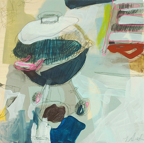 having a hard time (grill), 2015 acrylic and graphite on panel 12in x 12in private collection