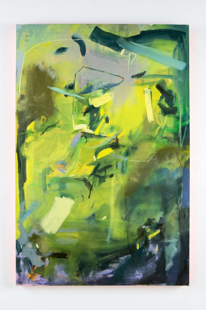 Chaos Garden,  2017 Oil, acrylic and vinyl on canvas 66in x 44in available